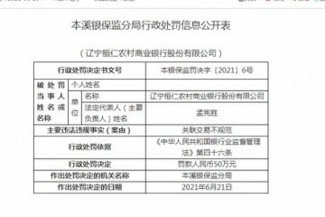 辽宁桓仁农商行被罚50万关联交易不规范