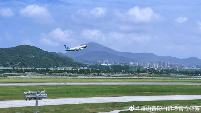 浙江舟山机场波音737MAX进行了空域与进近验证试飞